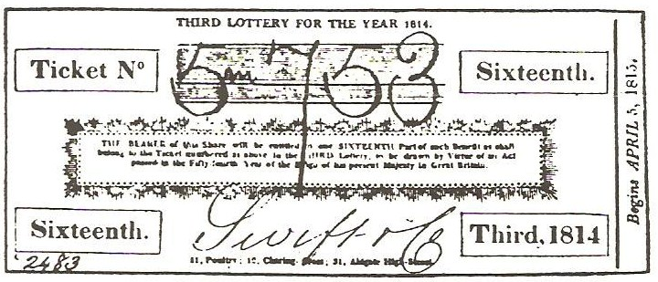 A lottery ticket, 1814
