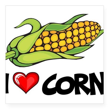 i_love_corn_square_sticker_3_x_3